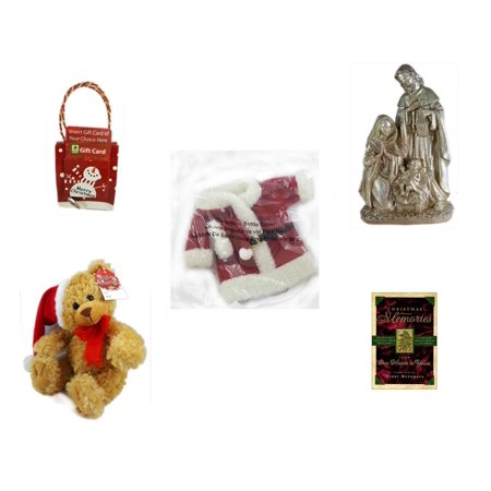 Christmas Fun Gift Bundle [5 Piece] - Musical Gift Card Holder Snowman - Silver Glitter Nativity Scene - 2011 Avon Santa Outfit Wine Bottle Cover  - Petting Zoo  Collection Teddy Bear  9