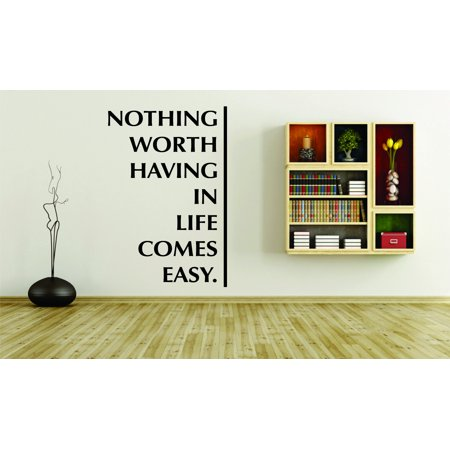 Living Room Art Nothing Worth Having In Life Comes Easy Motivational