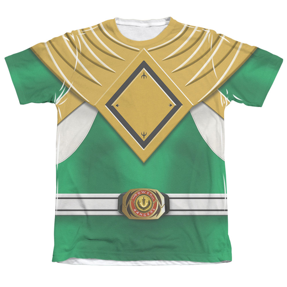 Power Rangers Men's  Green Ranger Sublimation T-shirt White