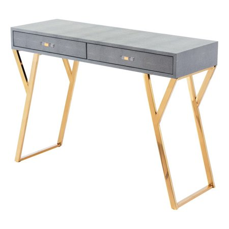 - Modern Contemporary Sofa Accent Side End Table Console, Grey Gray, Faux Leather Stainless Steel