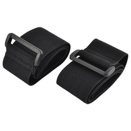 Outdoor Sports Nylon Elastic Backpack Hook Loop Tie Strap Black 5 x 50cm 2pcs (Black Nylon Loop)