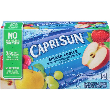 (4 Pack) Capri Sun Splash Cooler Ready-to-Drink Soft Drink, 10 - 6 fl oz Pouches ()