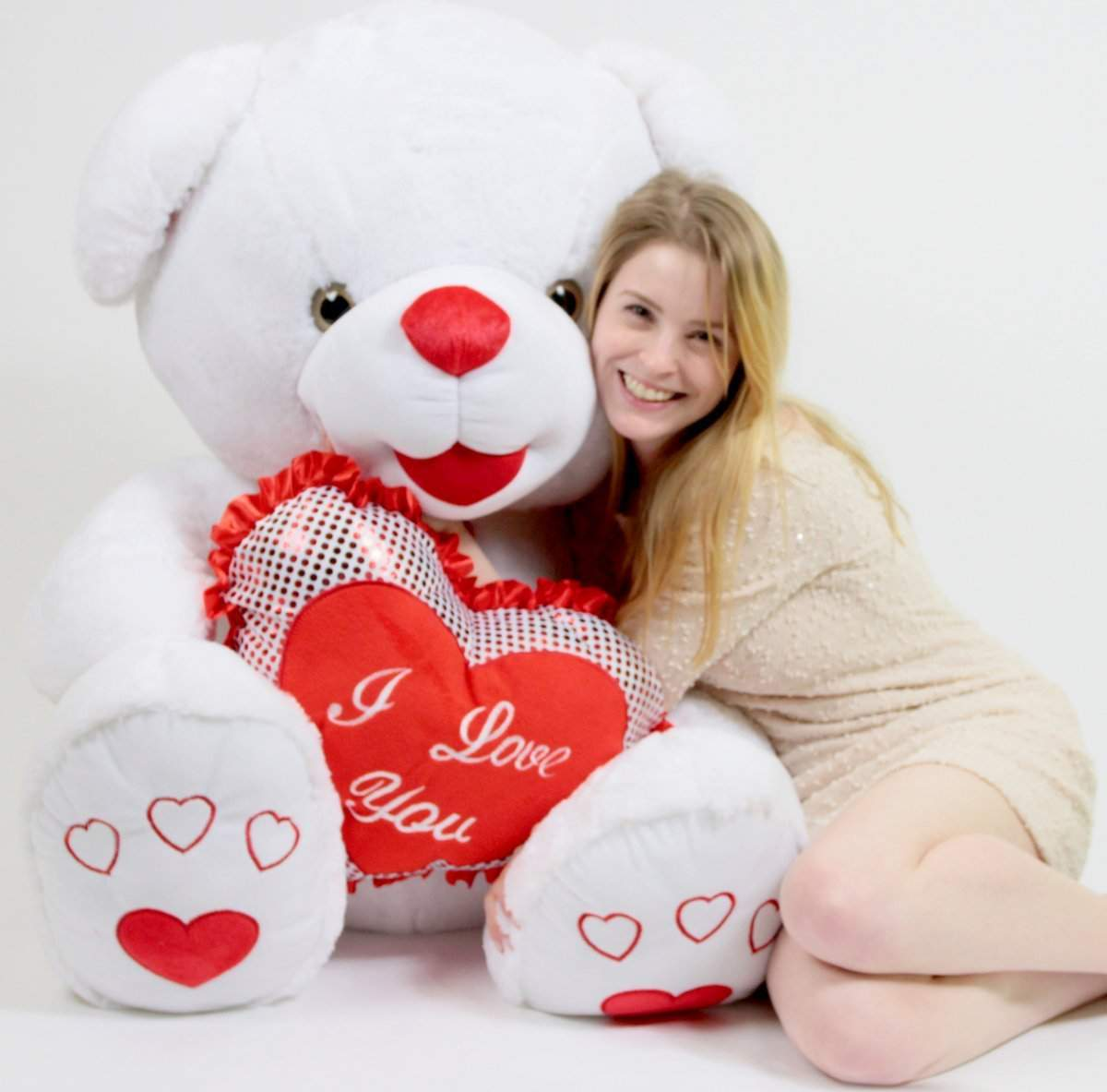 Romantic Giant Teddy Bear 40 inch Soft White with Big Plush I LOVE YOU Heart by BigPlush