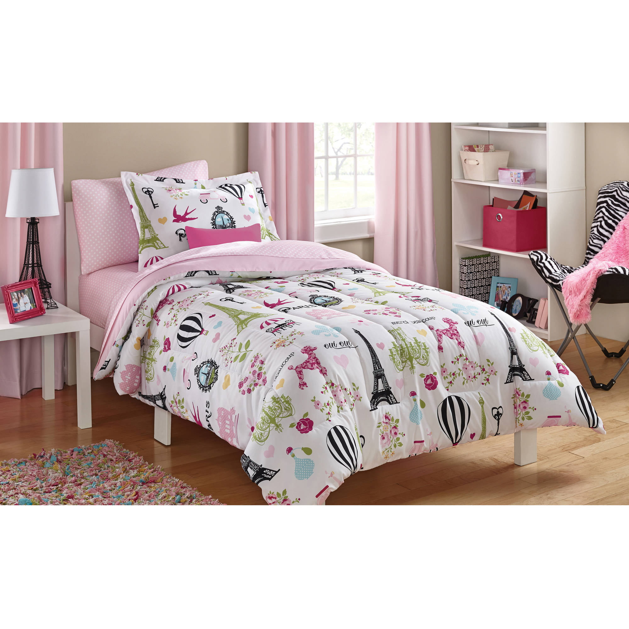 Mainstays Kids Paris Bed in a Bag Bedding Set Walmart