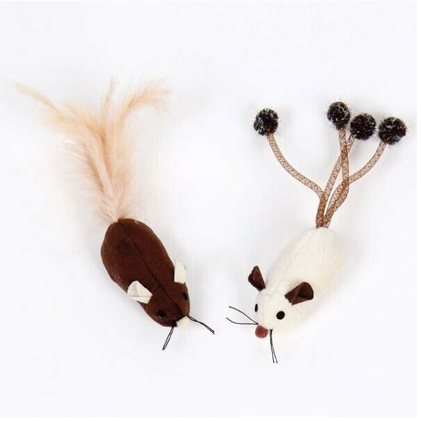 Cat Toys 2 Pack Interactive Fun Plush Mice Ribbon Feather Ball Pick Characters (Long Tail Mice)