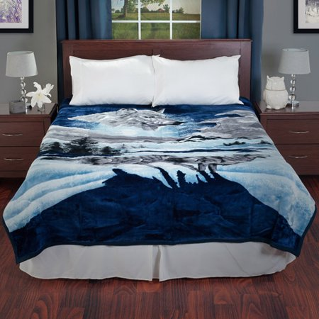 - Lavish Home Heavy Thick Plush Mink Blanket, Wolf