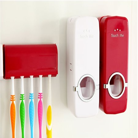 - Automatic Toothpaste Dispenser + 5 Toothbrush Holder Set With Wall Mount Stand Bathroom Home & Kitchen Accessories Home Decor Today's Special Offer