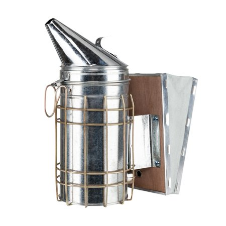 Image of LYUMO Galvanized Plate Manual Honey Keeper Bee Smoker Silver Beekeeping Tool,Bee Smoker, Smoke Transmitter