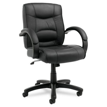 Alera Alera Strada Series Mid-Back Swivel/Tilt Chair w/Black Top-Grain Leather ()