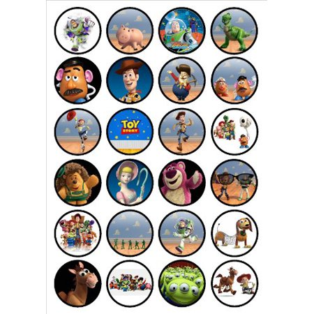 Toy Story Edible PREMIUM THICKNESS SWEETENED VANILLA, Wafer Rice Paper Cupcake Toppers/Decorations by Cian's Cupcake Toppers - Hot Wheels Cupcake Toppers