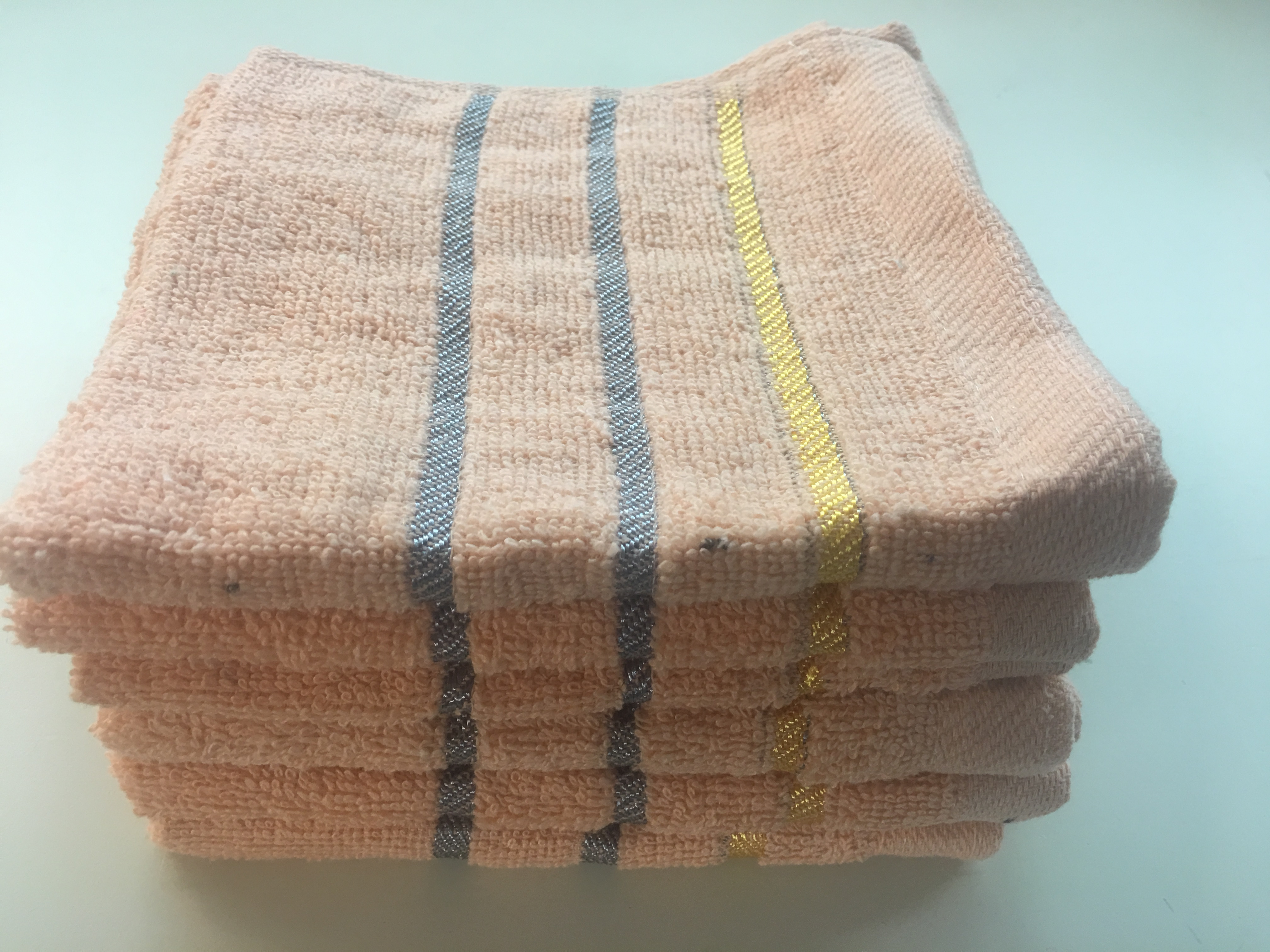 Dobby Border Set of 6 Solid Color Terry Wash Cloths Blue 100/% Cotton