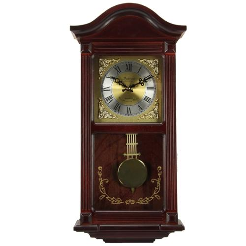 "Bedford Clock Collection Mahogany Cherry Wood 22"" Wall Clock with Pendulum and Chimes"