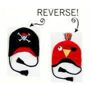 LCKDWLPP Pirate/Parrot Reversible Kid's Winter Hat Large