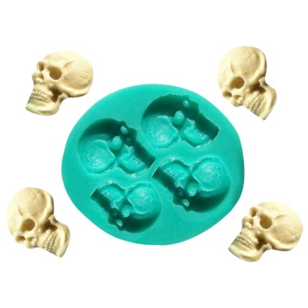 Pastel De Halloween Fondant (Skull Head Silicone Fondant Cake Mould Chocolate Mold Halloween Party)