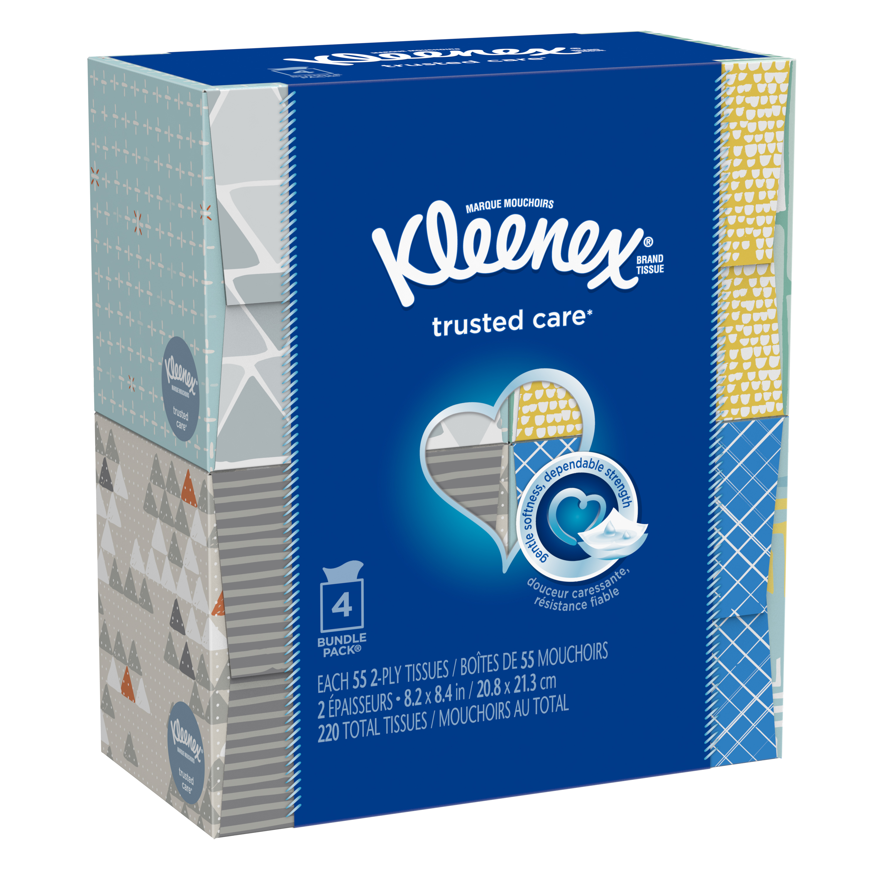 Kleenex Everyday Facial Tissues, 55 Sheets, Pack of 4