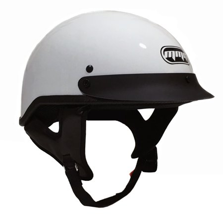 - Motorcycle Half Helmet Cruiser DOT Street Legal (L, White)