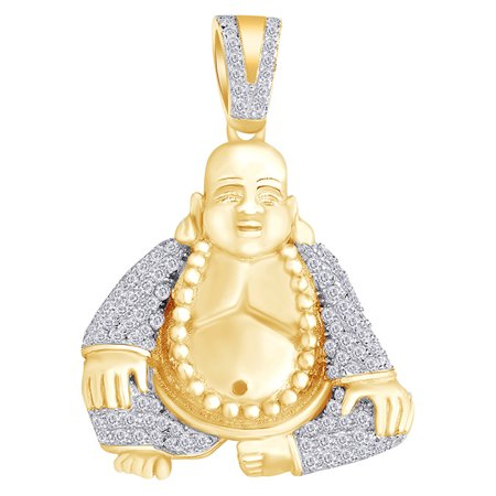 0.7 Cttw Round White Natural Diamond Iced Out Hip Hop Jewelry Buddha Pendant In 14k Solid Yellow Gold