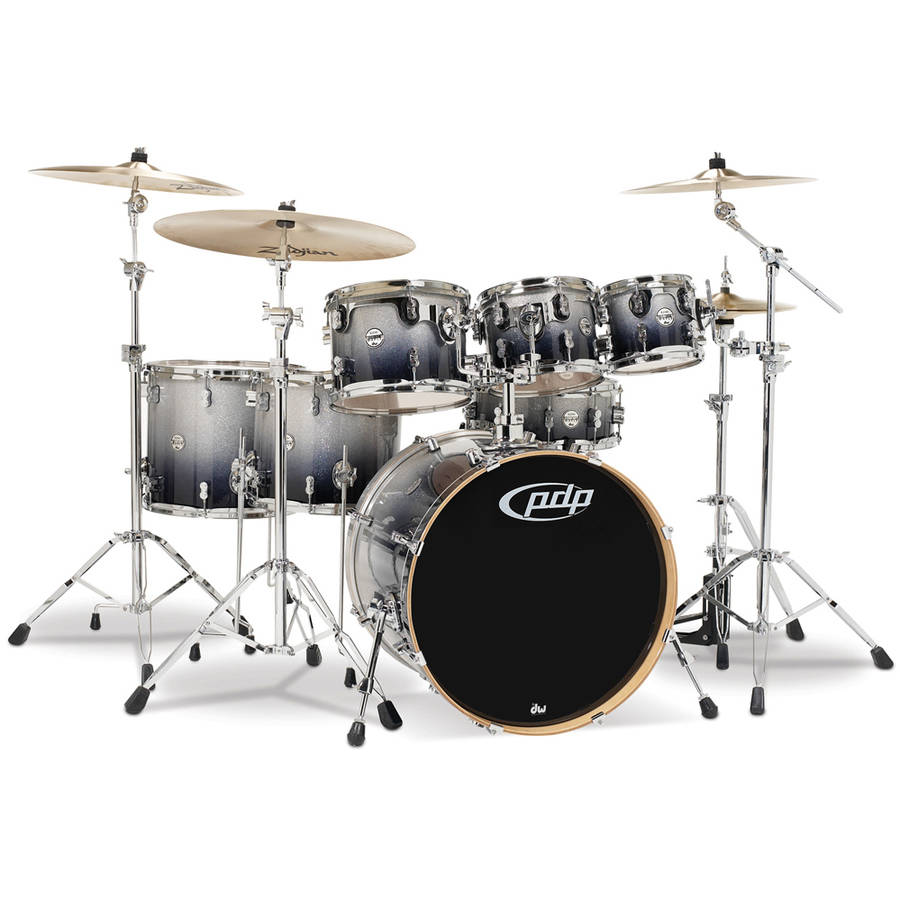 Pacific PDP Concept Maple 7-Piece Shell Pack w/ Chrome Hardware - Silver Black Fade
