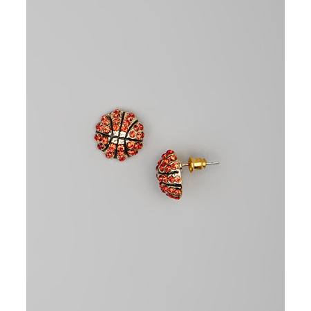 Lux Accessories Kids Girls Orange & Gold Basketball Stud Earrings - Basketball Earrings