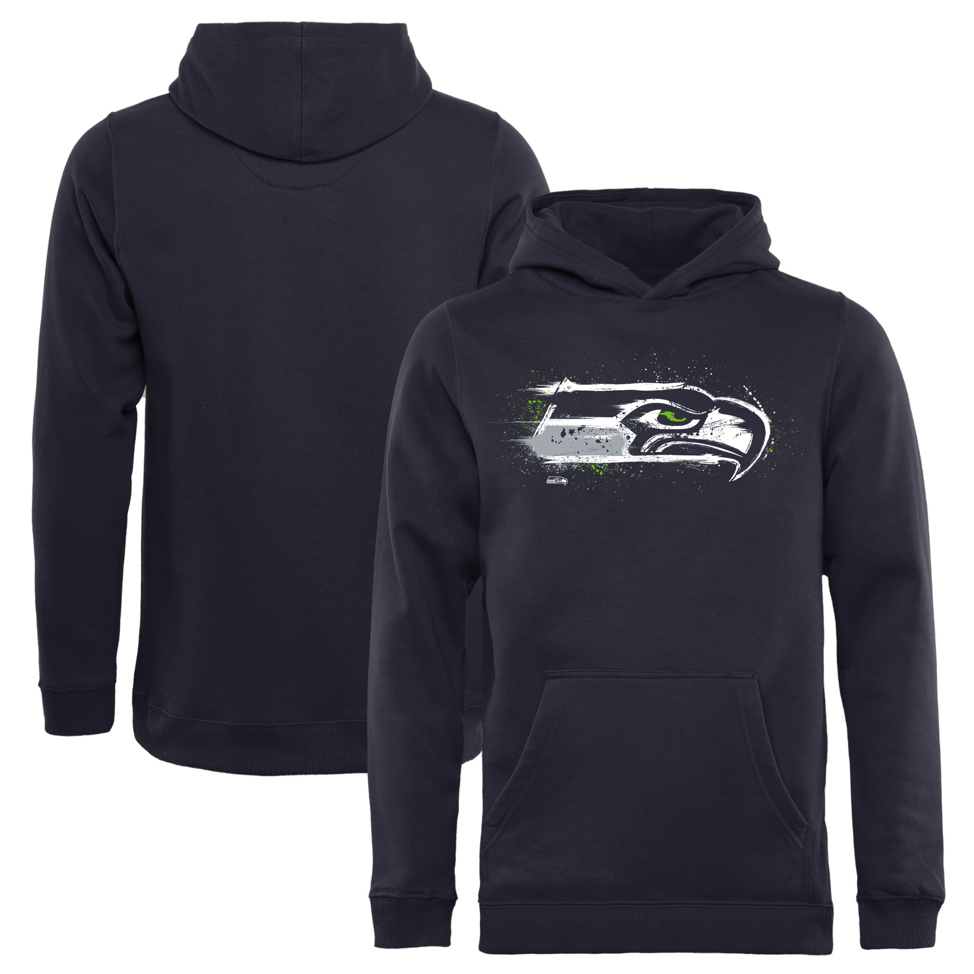 Seattle Seahawks NFL Pro Line by Fanatics Branded Youth Splatter Logo Pullover Hoodie - College Navy