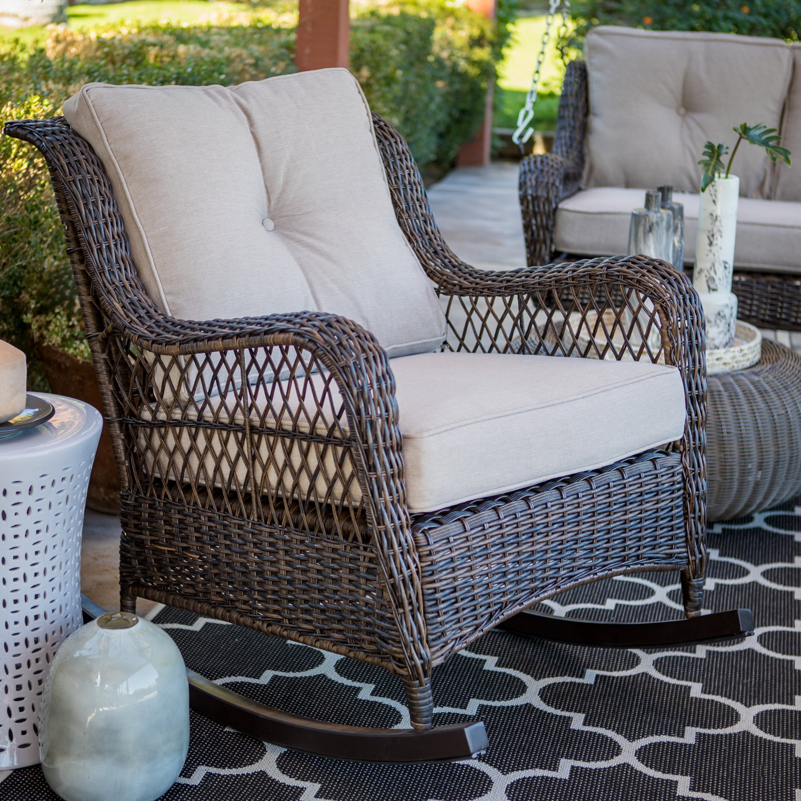 High Quality Belham Living Montauk Resin Wicker Outdoor Rocking Chair With Cushions