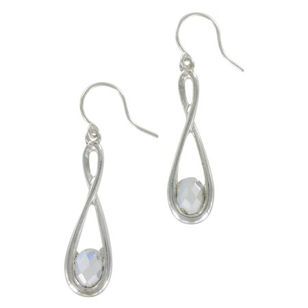 Silver Tone Clear Rhinestone Twisted Tear Drop Dangle Pierced Earrings