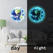 JLONG 1Pcs Luminous 3D Earth Pattern Wall Sticker Self-adhesive DIY Nursery Home Wall Decor