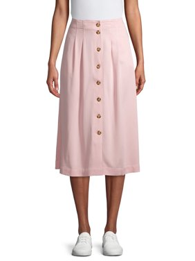 Time and Tru Women's Button Front Midi Skirt