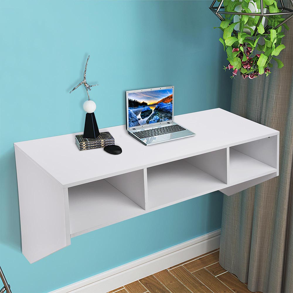 Yescom Wall Mounted Floating Desk with Storage 80lbs Weight Capacity Computer Laptop Home Office Furniture White