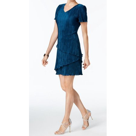 Connected Apparel NEW Blue Womens Size 10 Tiered Pleated Sheath