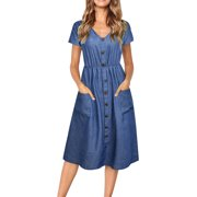 e884d20b JustVH Women's V-Neck Casual Decorative Button Swing Midi Dress with Pockets