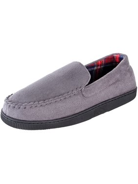 URBAN FOX - Hudson Suede Slippers Mens | Micro-Suede | Rubber Sole | Plush Plaid Lining | Comfortable House and Outdoor Slippers | Slippers for Men | Slip-On Slippers for Men | Grey 12