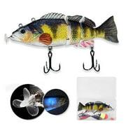 AUTCARIBLE Electric Fishing Lure with LED Lamp 4-segment Swimbait USB Rechargeable Crankbait Lure Crankbait Fishing Lure Bait