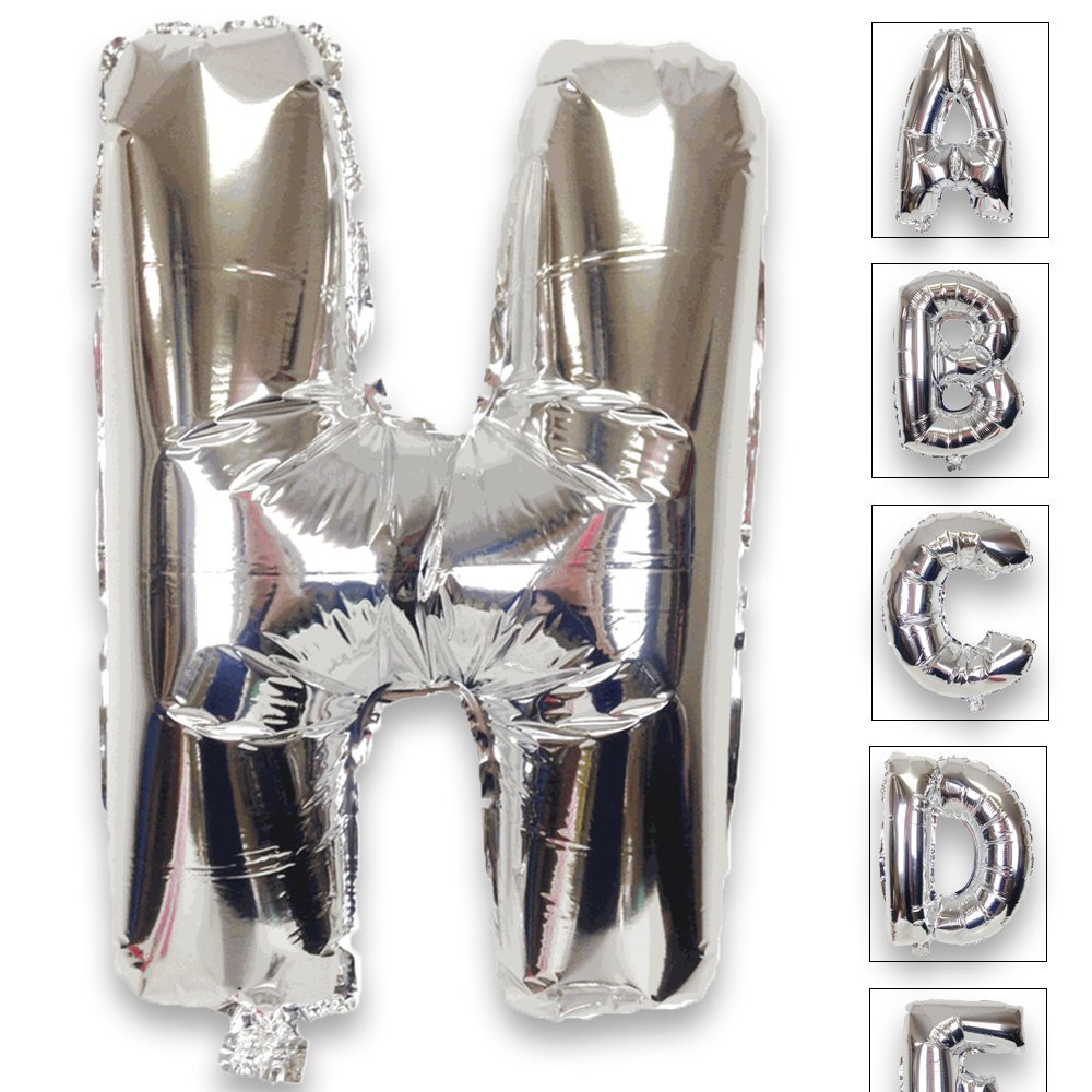 Just Artifacts Shiny Silver (30-inch) Decorative Floating Foil Mylar Balloons - Letter: H - Letter and Number Balloons for any Name or Number Combination!