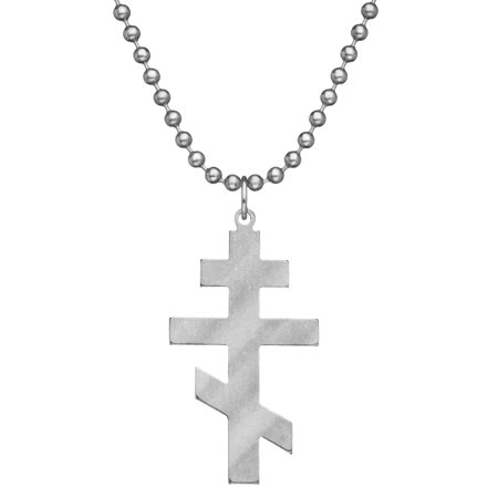 Genuine U.S. Military Issue ORTHODOX CROSS With Beaded Chain - - Military Cross