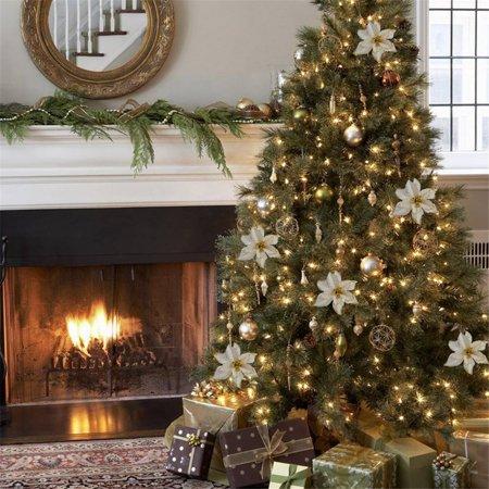 10Pcs Glitter Christmas Flower Christmas Tree Ornaments Wedding Party Holiday Decor ()