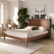 Baxton Studio Danielle Traditional and Transitional Rustic Ash Walnut Brown Finished Wood Queen Size Platform Storage Bed with Built-In Shelves