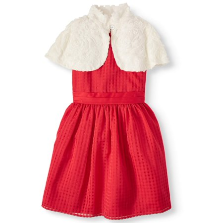 Wonder Nation Holiday Christmas Pane Dress With Removable Faux-Fur Capelet (Little Girls, Big Girls & Plus) Best Holiday Dresses