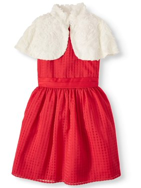 Wonder Nation Holiday Christmas Pane Dress With Removable Faux Fur Capelet (Little Girls, Big Girls & Plus)