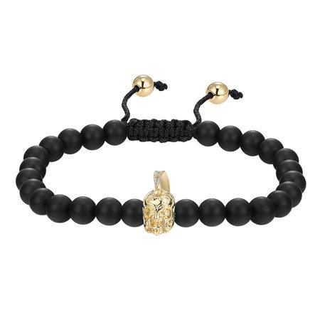 Black Bead Link Bracelet 14K Gold Finish Knight Armor Helmet Men Womens Gift