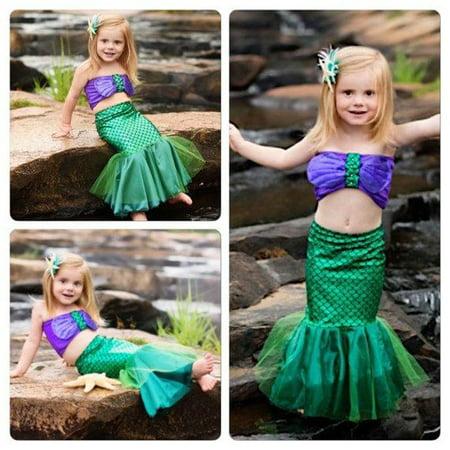 Mermaid Costume Accessories (The Mermaid Tail Princess Ariel Dress Cosplay Costume Kids For Girl Fancy Green)
