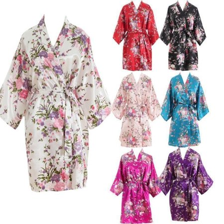 2018 Women´s Satin Floral Bridesmaid Robes Gowns Bride Bath Robe Wedding Kimono Robes - Floral Robe