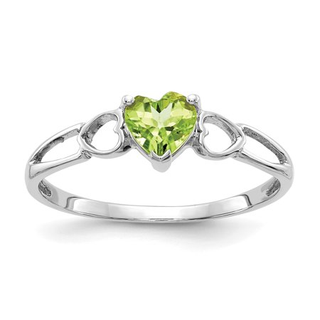 10k White Gold Green Peridot Birthstone Band Ring Size 6.00 Stone August Fine Jewelry Gifts For Women For Her - image 9 of 9