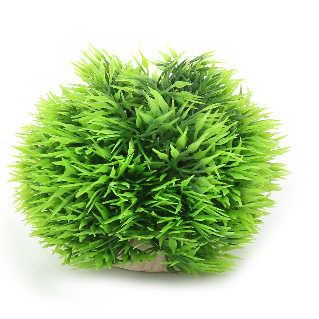 Aquarium Fish Tank Ceramic Base Plastic Ball Shape Artificial Plant Decor Green