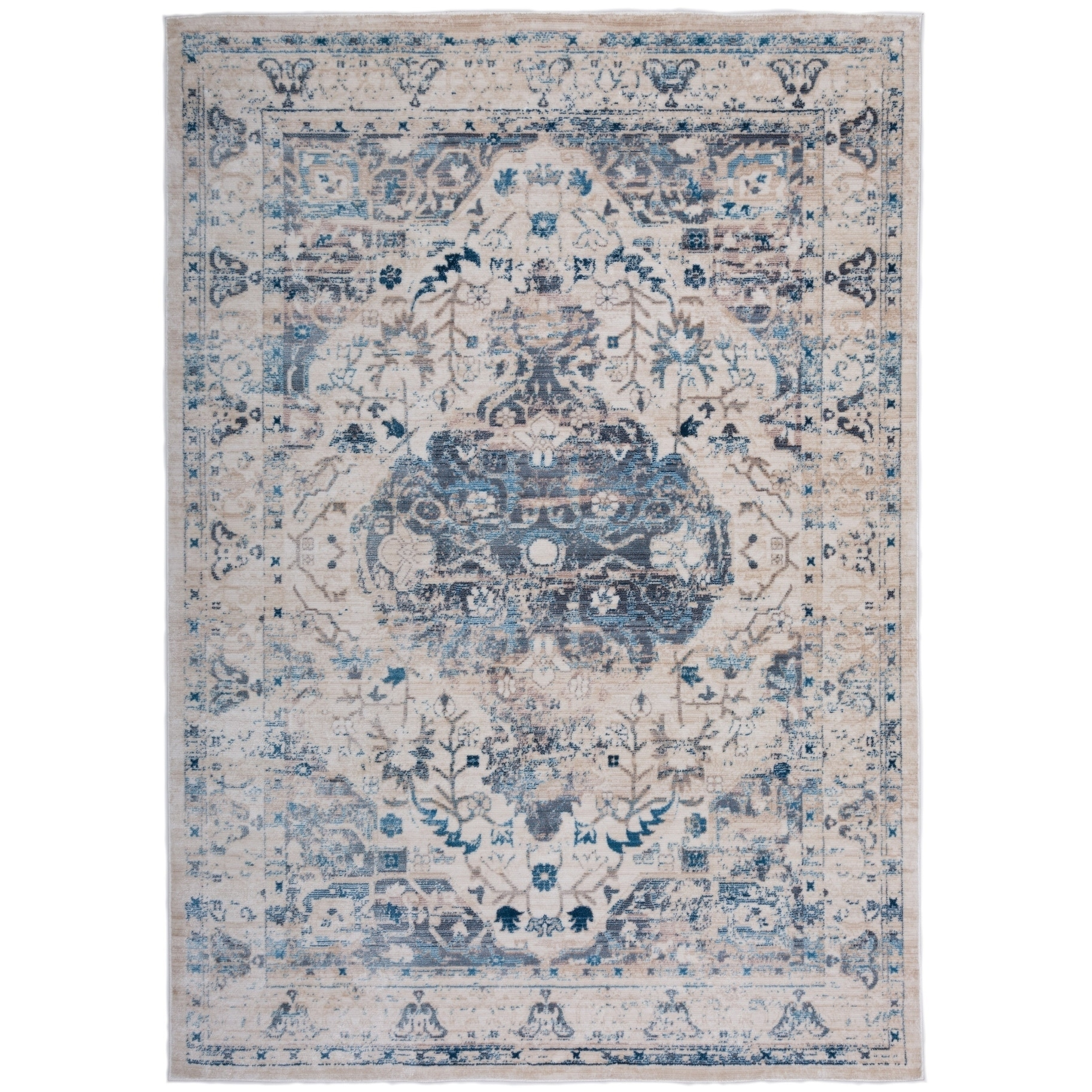 Traditional Medallion Distressed Floral Beige Area Rug or Runner