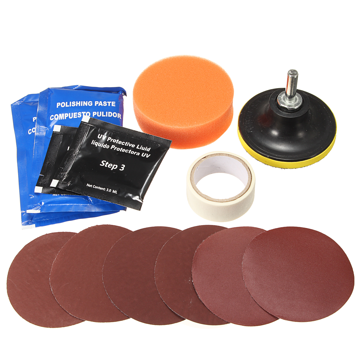 14Pcs/set Car Headlight Lens Restoration Repair Kit Professional Polishing Cleaner Tool