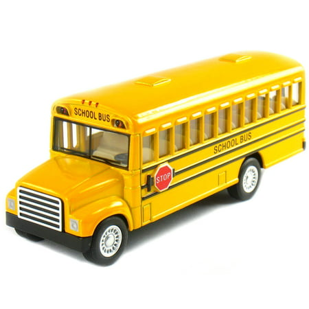 Yellow School Bus with Pull-Back Action Diecast Toy Model 5