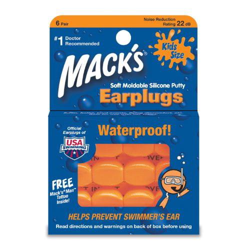 6 Pack Mack's 10 Pillow Soft Ear Plugs Kid Size Swimming Waterproof Pack 6 Each