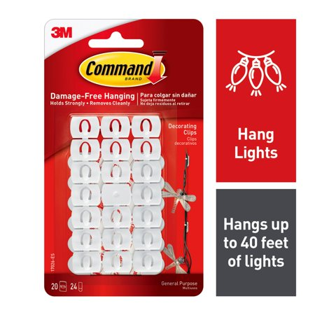 Decorating Clips - Command Decorating Clips, White, 80 Clips, 96 Strips