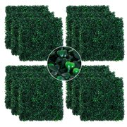 """Outsunny 20"""" x 20"""" 12 Pieces Artificial Boxwood Hedge Mat Plant Panels, Grass Wall Backdrop for Indoor Outdoor Decor, Dark Green"""